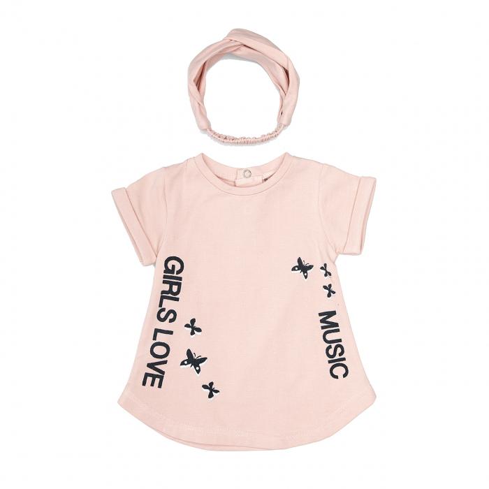 Babybol Rochita cu bandana, roz pudra, imprimeu fluturi 0