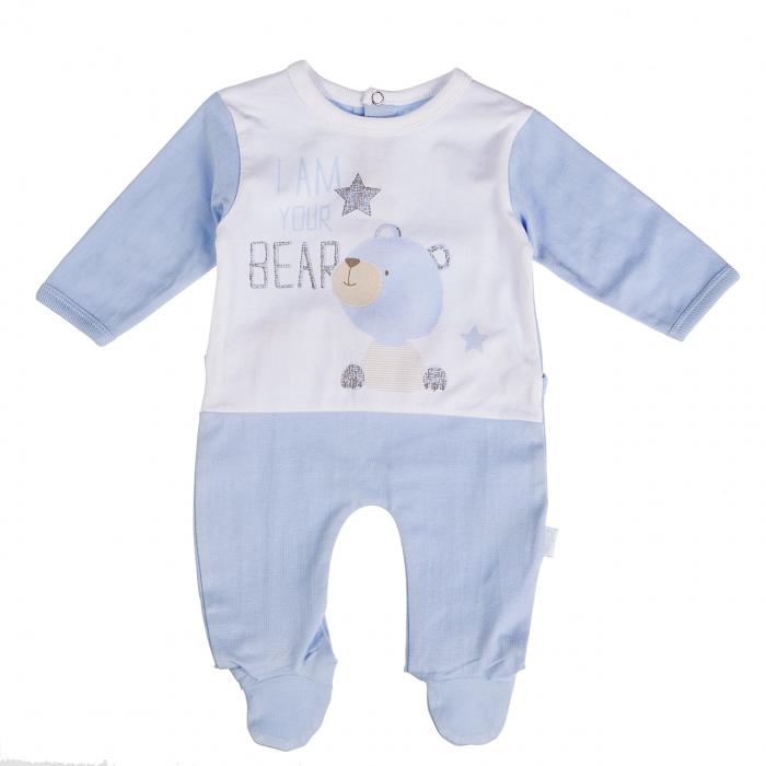 Babybol Salopeta bebe baiat cu maneca lunga si botosei, blue 0