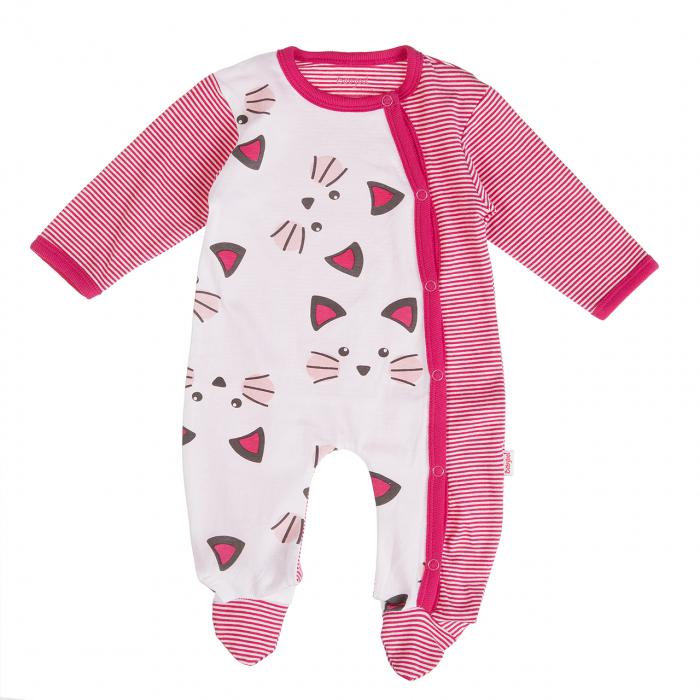 Babybol Salopeta bebe fetita,print pisicute, fucsia [0]