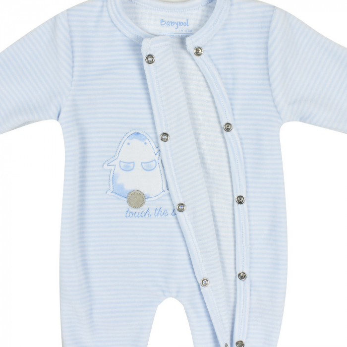 Babybol, Salopeta catifea bebe baiat cu botosei, dungi blue 2