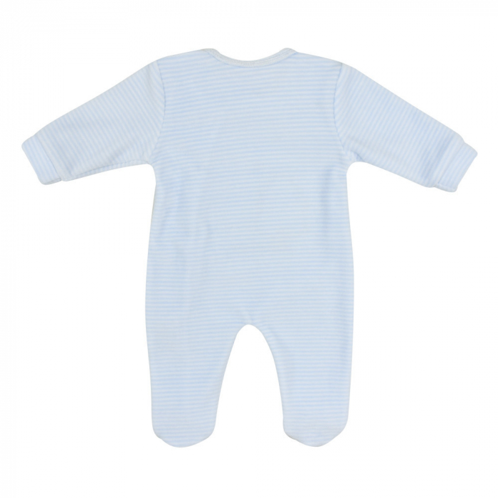 Babybol, Salopeta catifea bebe baiat cu botosei, dungi blue 1