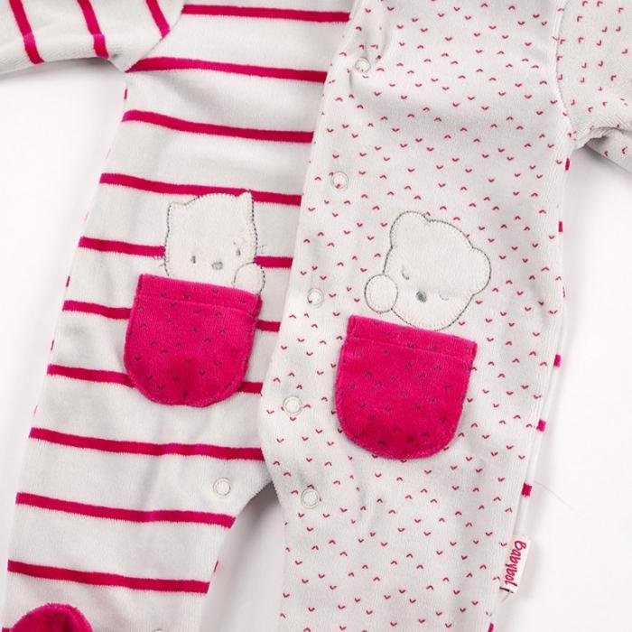 Babybol Salopeta fetita 0-18 luni, catifea gri/fucsia 1