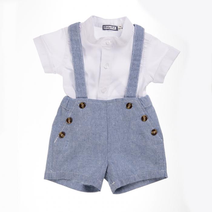 Babybol Set 2 piese camasa alba cu salopeta blue, baiat 0