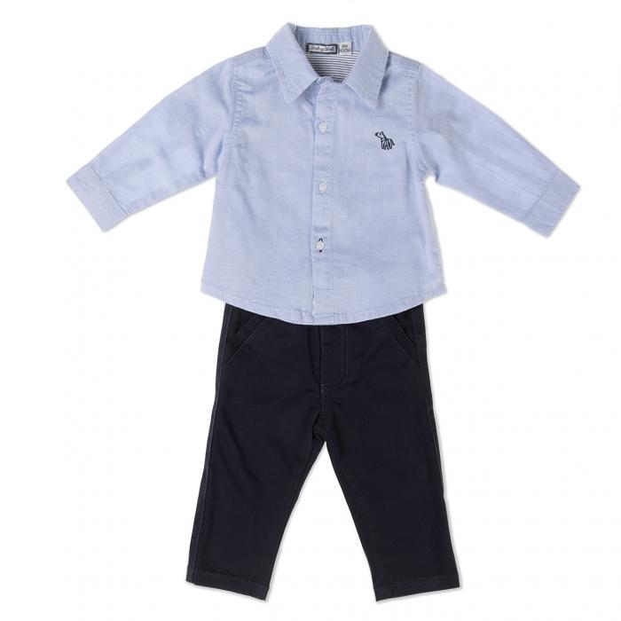 Babybol Set 2 piese , camasa bleu si pantalon lung navy 0