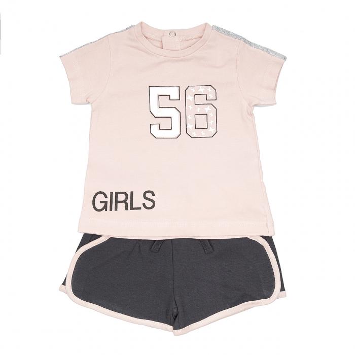 Babybol Set 2 piese tricou maneca scurta&pantalon scurt, roz 0
