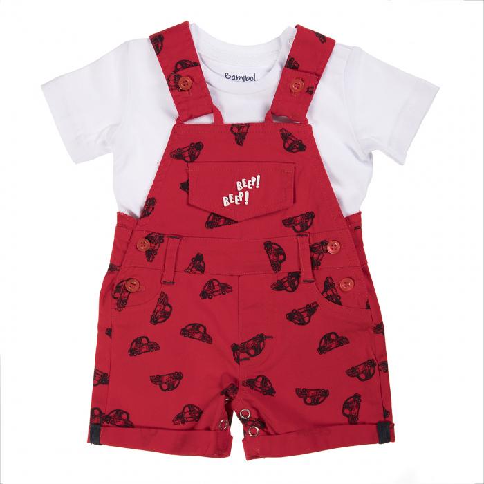 Babybol Set 2 piese tricou si salopeta rosie, imprimeu masini [0]