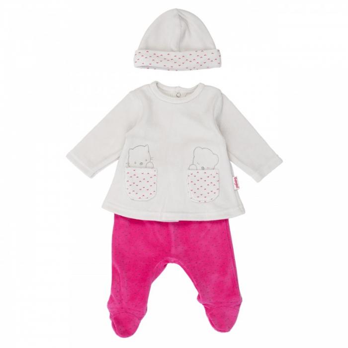 Babybol Set 3 piese bebe fetita, gri/fucsia 0