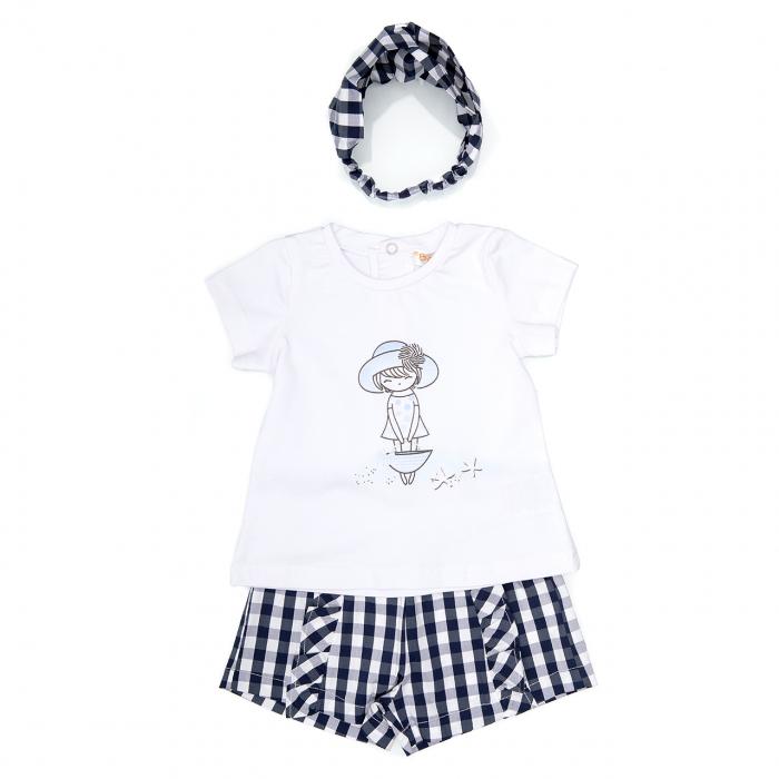 Babybol Set 3 piese fete tricou & pantalon scurt& bandana, navy 0