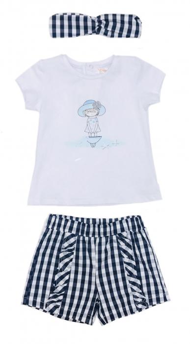 Babybol Set 3 piese fete tricou & pantalon scurt& bandana, navy 1