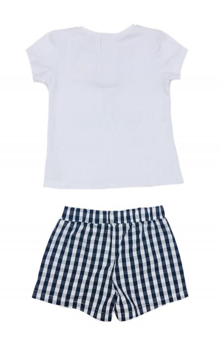 Babybol Set 3 piese fete tricou & pantalon scurt& bandana, navy 2
