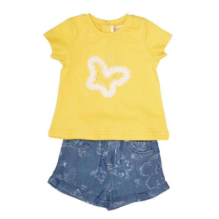 Babybol Set fete tricou galben cu pantalon scurt jeans, fluturi [0]