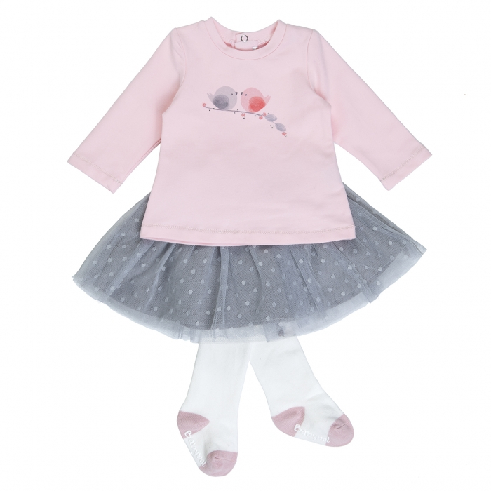 Babybol Set  fetita fusta tulle cu tricou si dres, roz 0