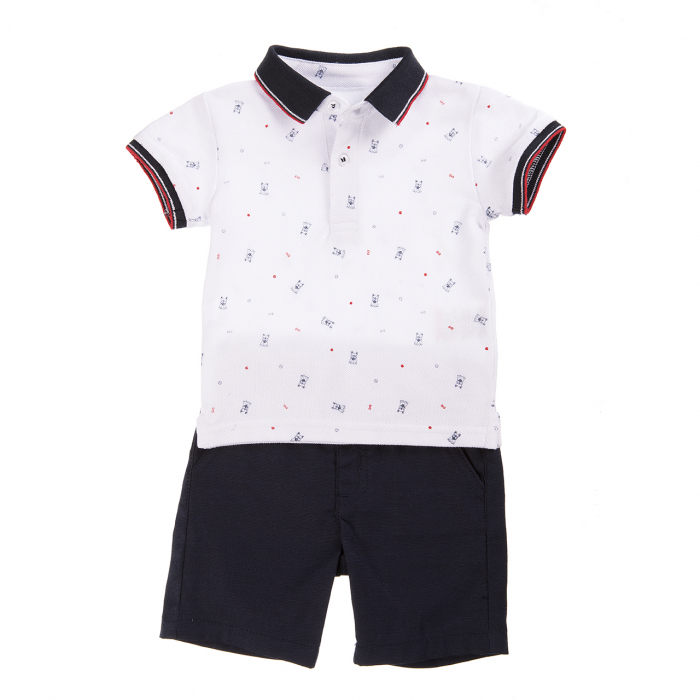 Babybol Set tricou polo & pantalon scurt, imprimeu catelusi, navy 0