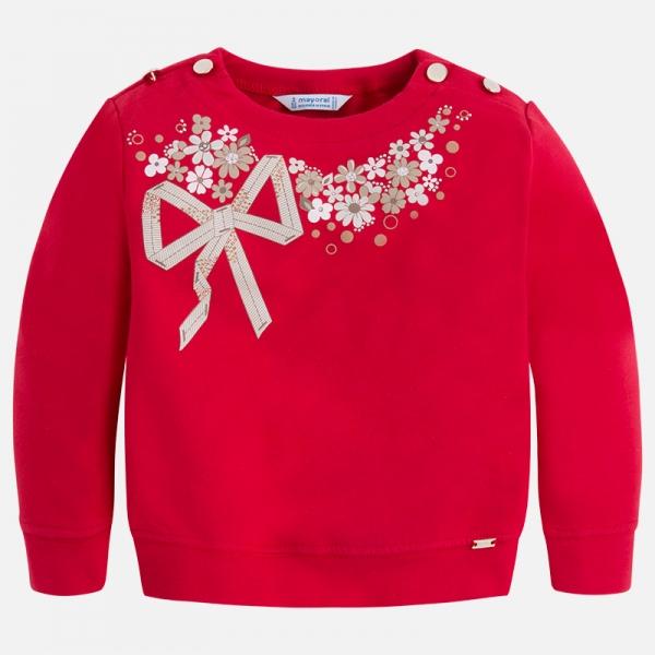 Bluza fleece cu flori Mayoral rosie 0