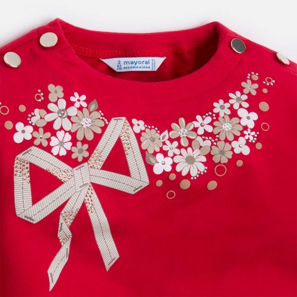 Bluza fleece cu flori Mayoral rosie 2