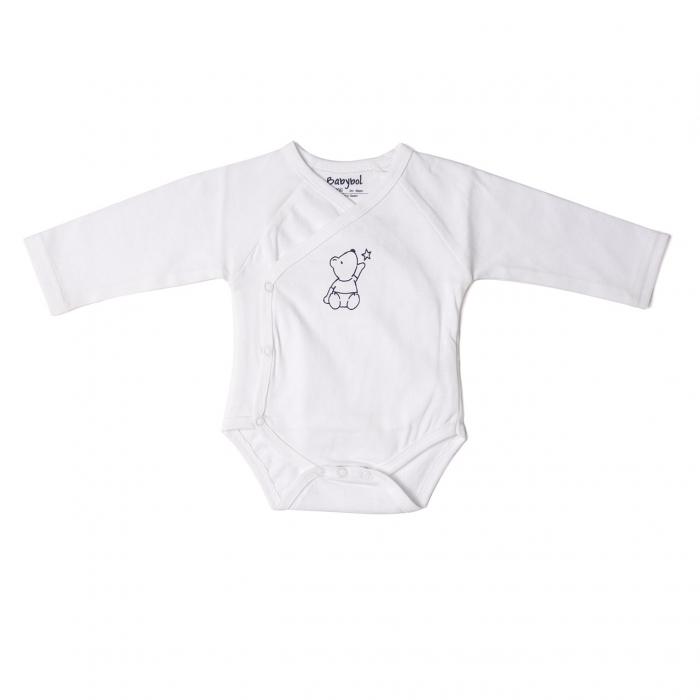 Body maneca lunga din bumbac organic, alb, Babybol 0