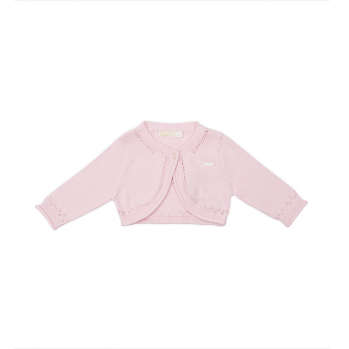 Bolero tricot bumbac fetite, roz, Babybol 0