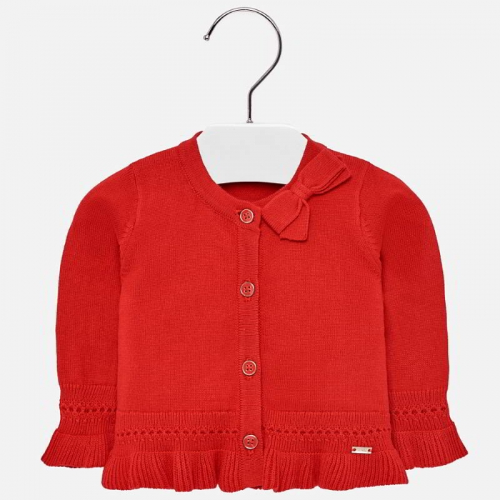 Cardigan din tricot cu fundita fete Mayoral rosu [0]
