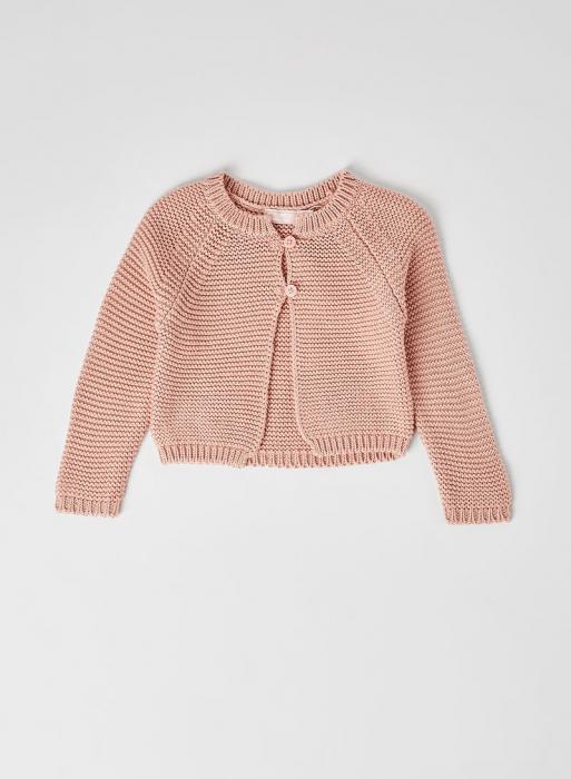 Cardigan fete roz tricotat , Babybol 0