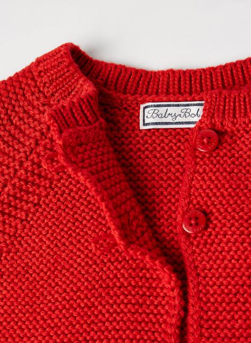 Cardigan fete tricotat, rosu, Babybol [3]