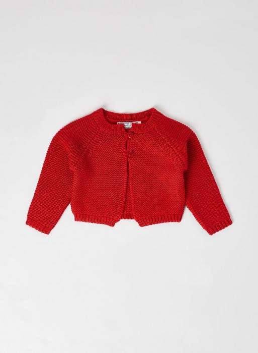 Cardigan fete tricotat, rosu, Babybol [0]