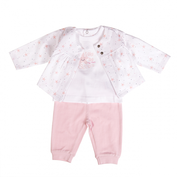Compleu bebe fetita 3 piese ,0-12 luni ,  roz, Babybol 0