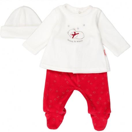 Set bebe catifea 3 piese format din caciulita,bluza si pantaloni, Babybol 0