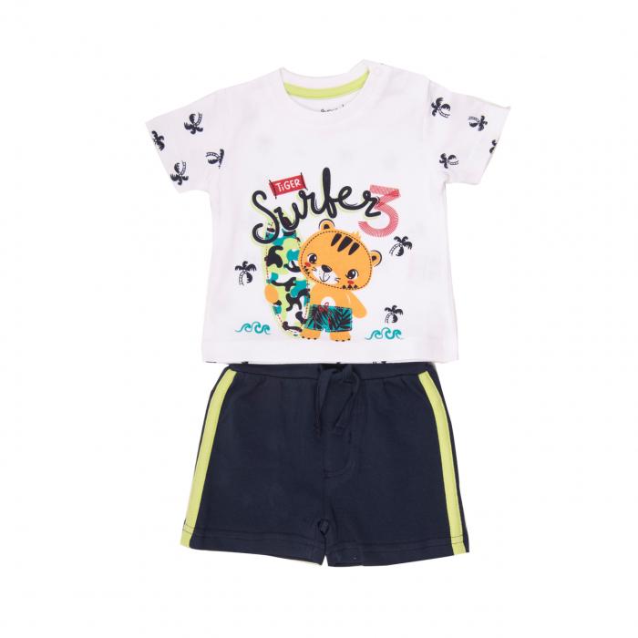 Costumas 2 piese baiat, tricou maneca scurta cu sort , animal print, Babybol [0]