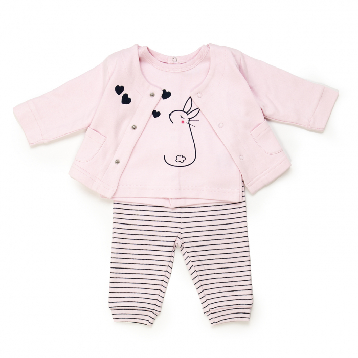 Costumas 3 piese bebe , cardigan & bluza & pantaloni roz,Babybol 0