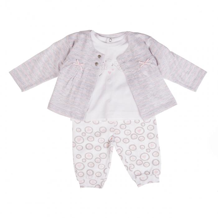 Costumas 3 piese fetite 0-12 luni, gri/roz , Babybol 0