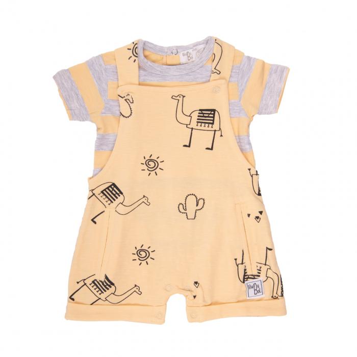 Costumas bebe 2 piese din bumbac, tricou cu salopeta, galben pal, Babybol [0]