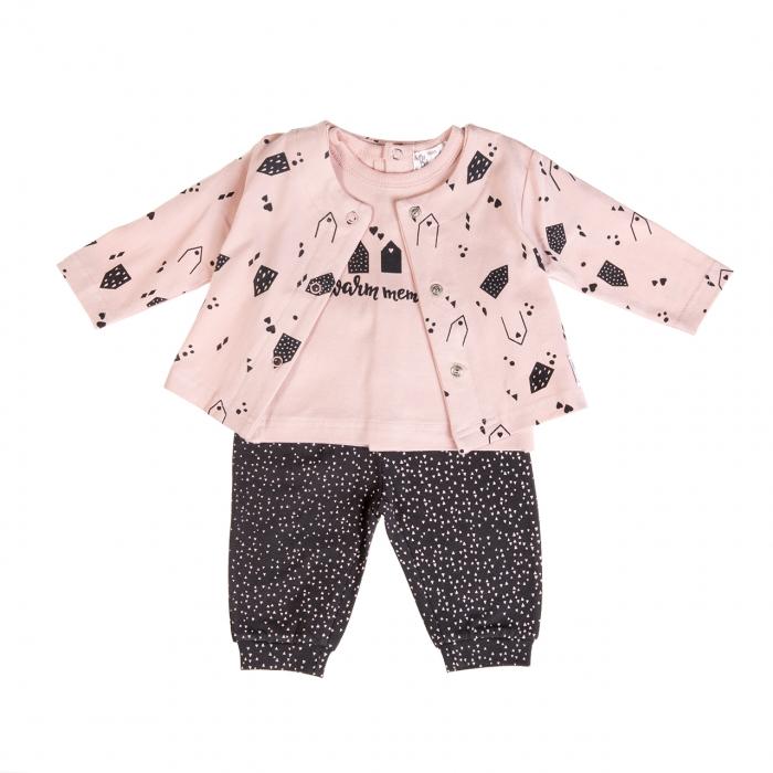 Costumas bebe fetita 3 piese, roz/gri, Babybol 0