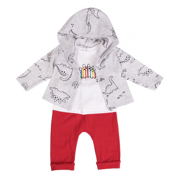 Costumas bunbac 3 piese bebe baiat, imprimeu dino, Babybol 0