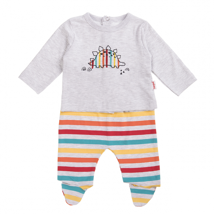 Costumas nou nascut 2 piese, imprimeu dino, multicolor, Babybol 0