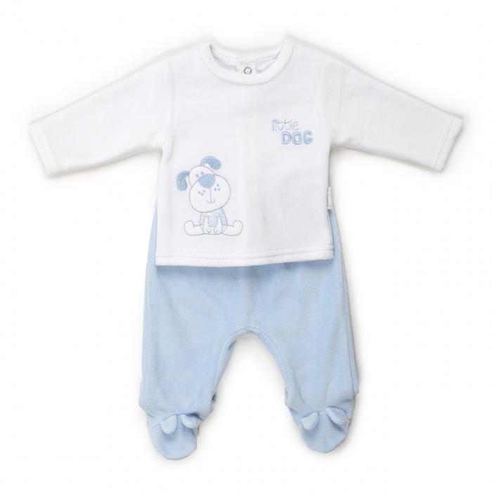 Costumas nou nascut, tricou si pantalonas cu botosei, bleu/alb, Babybol 0