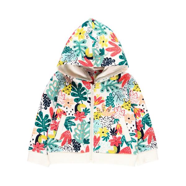 Hanorac fete cu gluga, imprimeu floral multicolor, Boboli 4