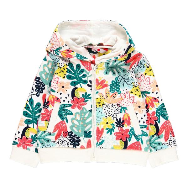 Hanorac fete cu gluga, imprimeu floral multicolor, Boboli 3