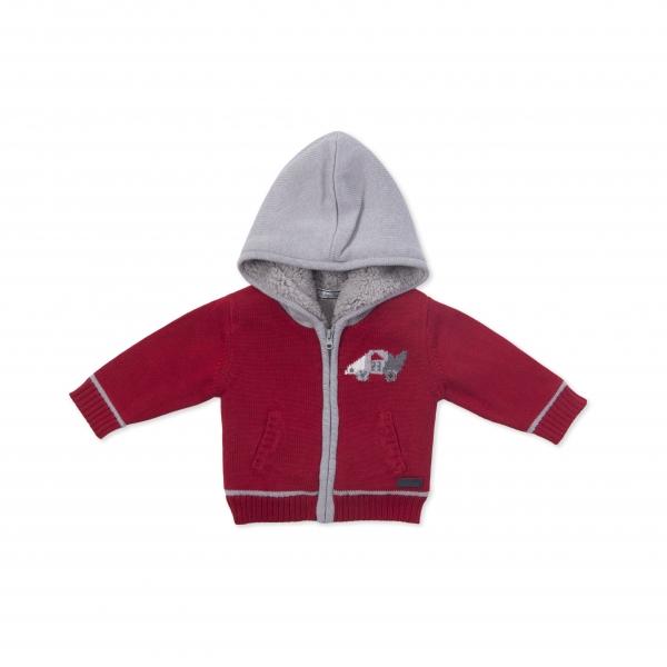 Jacheta tricot baiat imblanita, rosie, Babybol 0