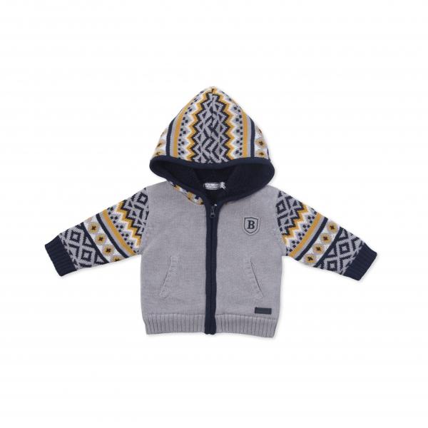 Jacheta tricot baieti imblanita gri Babybol 0