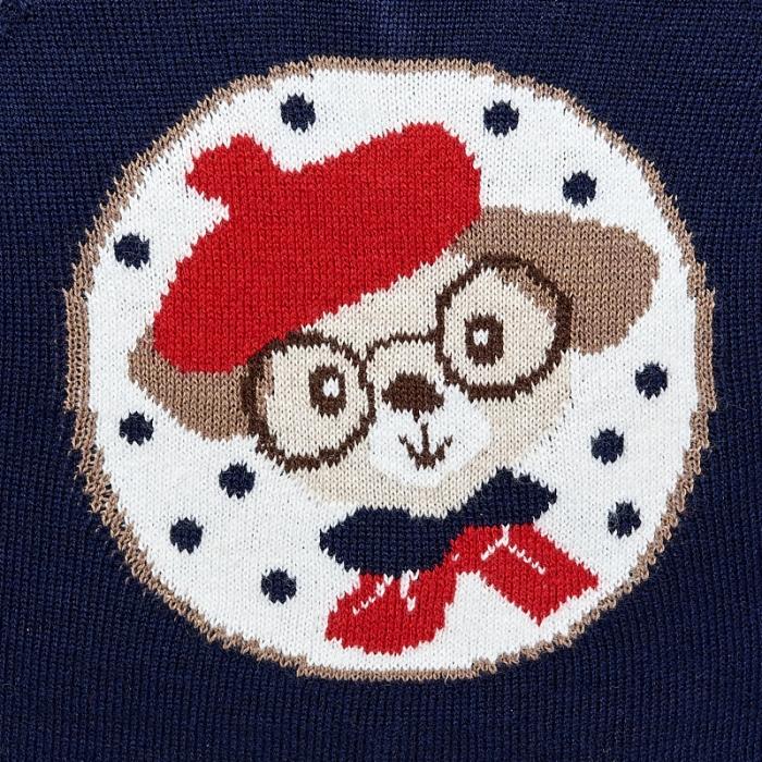Mayoral - Pulover tricotat fetite, navy, imprimeu catel 2