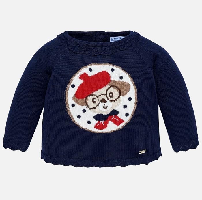 Mayoral - Pulover tricotat fetite, navy, imprimeu catel 0