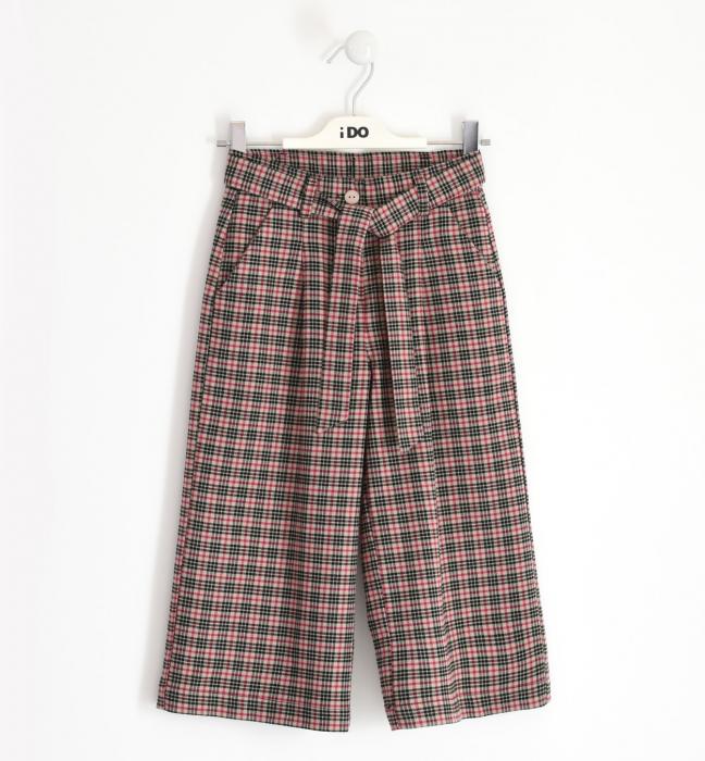 Pantalon fete 3/4 stofa, carouri fine, iDO 0