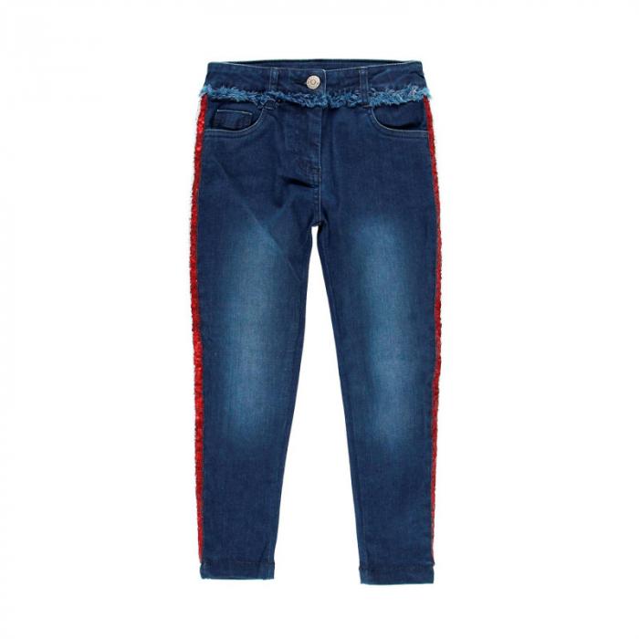 Pantalon jeans fete 8-16 ani cu strasuri , Boboli 0