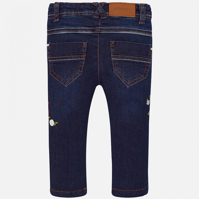 Pantalon jeans fete cu broderie flori, Mayoral 1