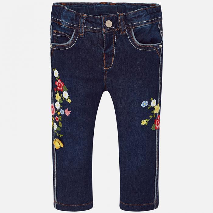 Pantalon jeans fete cu broderie flori, Mayoral 0