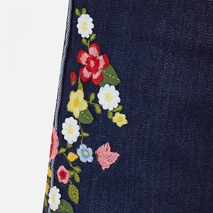 Pantalon jeans fete cu broderie flori, Mayoral 2