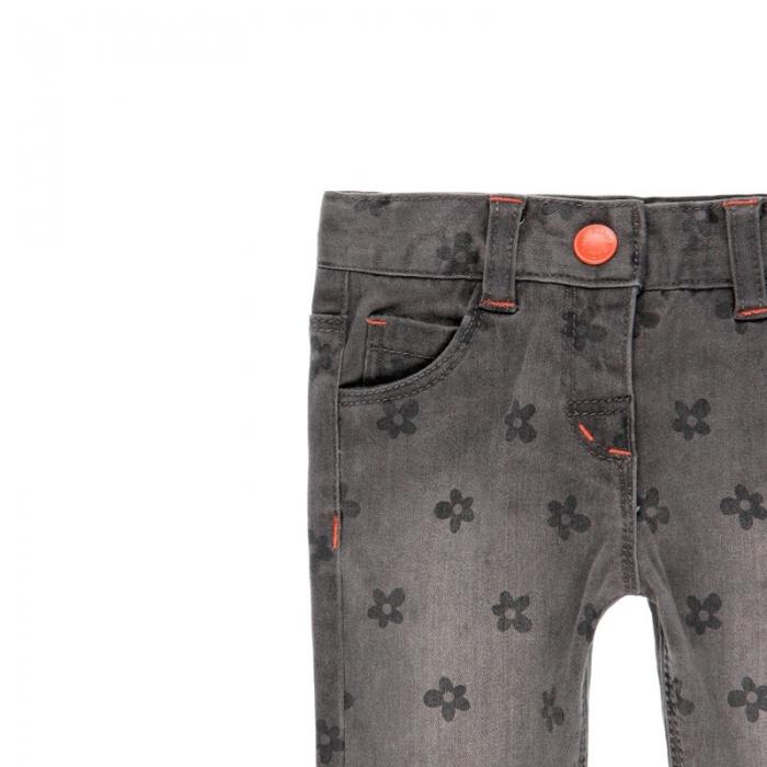 Pantalon jeans fete gri , imprimeu flori, Boboli 2