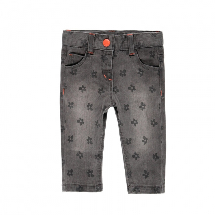 Pantalon jeans fete gri , imprimeu flori, Boboli 0