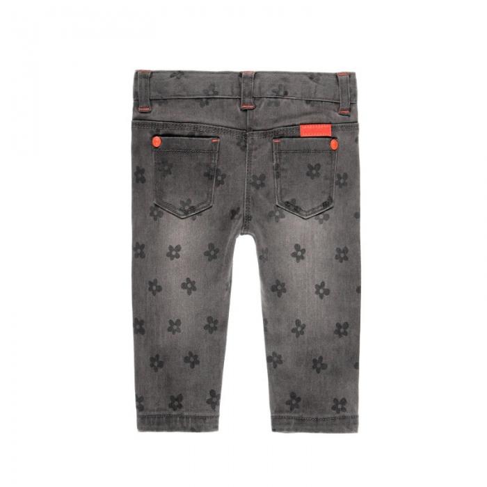Pantalon jeans fete gri , imprimeu flori, Boboli 1