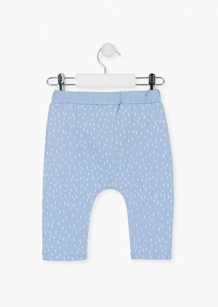 Pantalon lung bebe baiat bumbac, bleu, Losan 1
